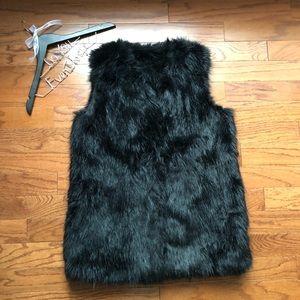 Bar III Black Vegan Fur Vest Large